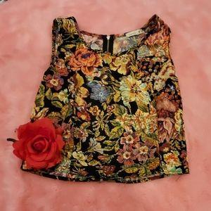 Floral zip back crop top